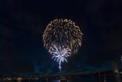 Het Vuurwerk van de Vooravond van het Nieuwjaar van de Haven van Sydney royalty-vrije stock foto's