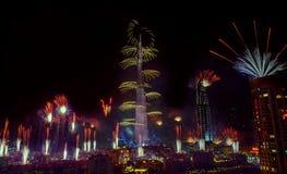 Het vuurwerk van Doubai Stock Afbeelding