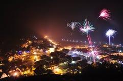 Het vuurwerk van het nieuwjaar Stock Afbeelding