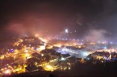 Het vuurwerk van het nieuwjaar Stock Fotografie