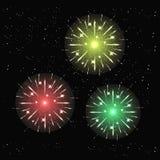 Het vuurwerklicht omhoog de hemel met het verblinden toont Royalty-vrije Stock Foto's