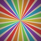 Het waaien van Stralen Abstracte Geometrische Achtergrond met Strepen in de Uitstekende Kleuren van het Regenboogspectrum Stock Foto
