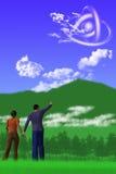 Het Waarnemen van het UFO stock illustratie