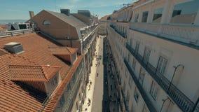 Het waarnemen van Lissabon van Santa Justa Lift, Portugal stock footage