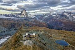het Waarnemingscentrum van Matterhorn en Gornergrat- Stock Fotografie