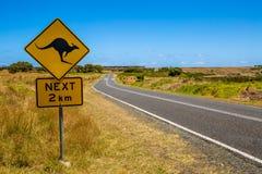 Het waarschuwen: Kangoeroe die teken kruisen Royalty-vrije Stock Fotografie