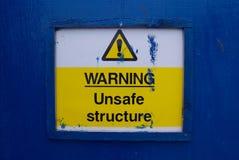 Het waarschuwen!! Onveilig stock foto's
