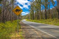 Het waarschuwen: Tasmaanse Duivel die teken kruisen Royalty-vrije Stock Foto's