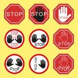 Het waarschuwen van en het belemmeren van verkeersteken Verkeerseinde, gevaar, het waarschuwen Elementen op een geïsoleerde achte royalty-vrije illustratie