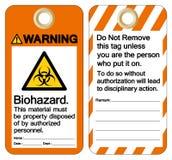 Het waarschuwende bio-Gevaar Dit die Materiaal moet Bezit zijn door het Teken van het Gemachtigde personeelsledensymbool, Vectori stock illustratie