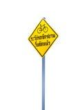 Het waarschuwingsbord in Thaise taalbetekenis voorzichtig zijn fiets kruising Royalty-vrije Stock Fotografie