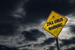 Het Waarschuwingsbord van het Zikavirus met Exemplaarruimte Royalty-vrije Stock Foto