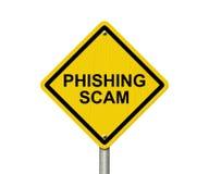 Het Waarschuwingsbord van Phishingsscam stock afbeelding