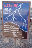 Het waarschuwingssein van de bliksem stock afbeelding