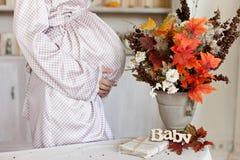 Het wachten op baby De herfstscène van zwangerschap, moederschap stock foto's