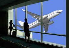 Het wachten op de vlucht Stock Afbeelding