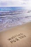 Het wachten op u geschreven in een zandig tropisch strand Stock Afbeeldingen