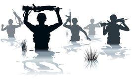 Het waden van militairen stock illustratie