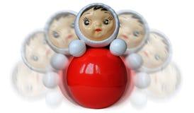 Het waggelen van roly-polystuk speelgoed op wit Royalty-vrije Stock Foto