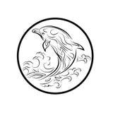 Het walvisembleem besnoeit van het het pictogrambeeldverhaal van tekenssymbolen het ontwerp abstracte illustratie Royalty-vrije Stock Fotografie
