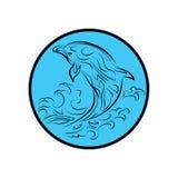 Het walvisembleem besnoeit van het het pictogrambeeldverhaal van tekenssymbolen het ontwerp abstracte illustratie Royalty-vrije Stock Foto's