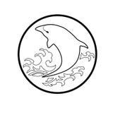 Het walvisembleem besnoeit van het het pictogrambeeldverhaal van tekenssymbolen het ontwerp abstracte illustratie Stock Foto's