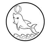 Het walvisembleem besnoeit van het het pictogrambeeldverhaal van tekenssymbolen het ontwerp abstracte illustratie Stock Afbeelding