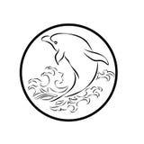 Het walvisembleem besnoeit van het het pictogrambeeldverhaal van tekenssymbolen het ontwerp abstracte illustratie Royalty-vrije Stock Afbeeldingen