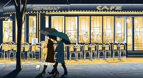 Het wandelen in de regen vector illustratie