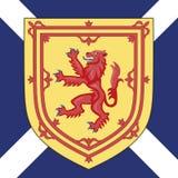 Het wapenschild en de vlag van Schotland Stock Foto