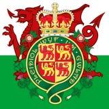 Het wapenschild en de vlag van Wales Stock Afbeelding