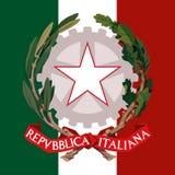 Het wapenschild van Italië en vlag Stock Fotografie