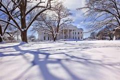 Het Washington DC van de Sneeuw van het Witte Huis stock afbeeldingen