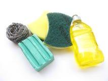Het wassen en Schoonmaakmiddelen Stock Foto's