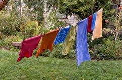 Het wassen het hangen op drooglijn Stock Fotografie