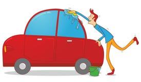 Het wassen van een auto Stock Afbeeldingen