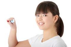 Het wassen van haar tanden Royalty-vrije Stock Fotografie