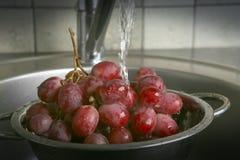 Het wassen van verse druiven in vergiet onder de kraan stock foto