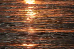 Het water bij zonsondergang Stock Foto