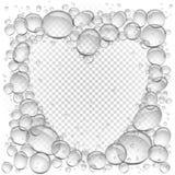 Het water borrelt transparant hartkader vector illustratie