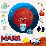 Het water of de vloeistof brengen in de war met Exploratie van grafische elemrnts van Mars - vector illustratie
