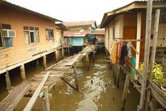 Het water dorp geroepen Kampong Ayer van Brunei in Bandar Seri Begawan Royalty-vrije Stock Afbeelding