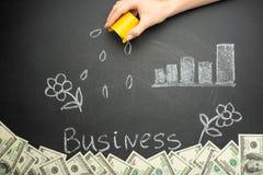 Het water geven en bedrijfswoord in een conceptenraad voor de bedrijfsgroei, investering, besparingen en makend geld, heel wat do royalty-vrije stock afbeelding