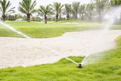 Het water geven in golfcursus Stock Foto