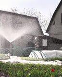 Het water geven systeem in de tuin stock fotografie