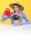 Het water geven van de vrouw installatie Royalty-vrije Stock Afbeelding