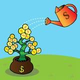 Het water geven van een geldboom Royalty-vrije Stock Afbeeldingen