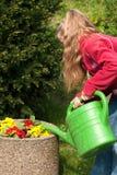 Het water geven van het meisje bloemen Royalty-vrije Stock Fotografie