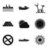 Het water zwemt geplaatste pictogrammen, eenvoudige stijl Stock Fotografie