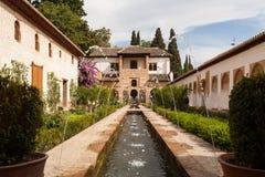 Het watereigenschap van Generalife van het Alhambra paleis Royalty-vrije Stock Afbeelding